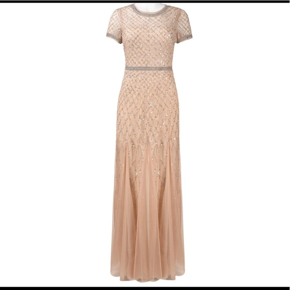 Adrianna Papell Dresses | Champagne Beaded Gown | Poshmark